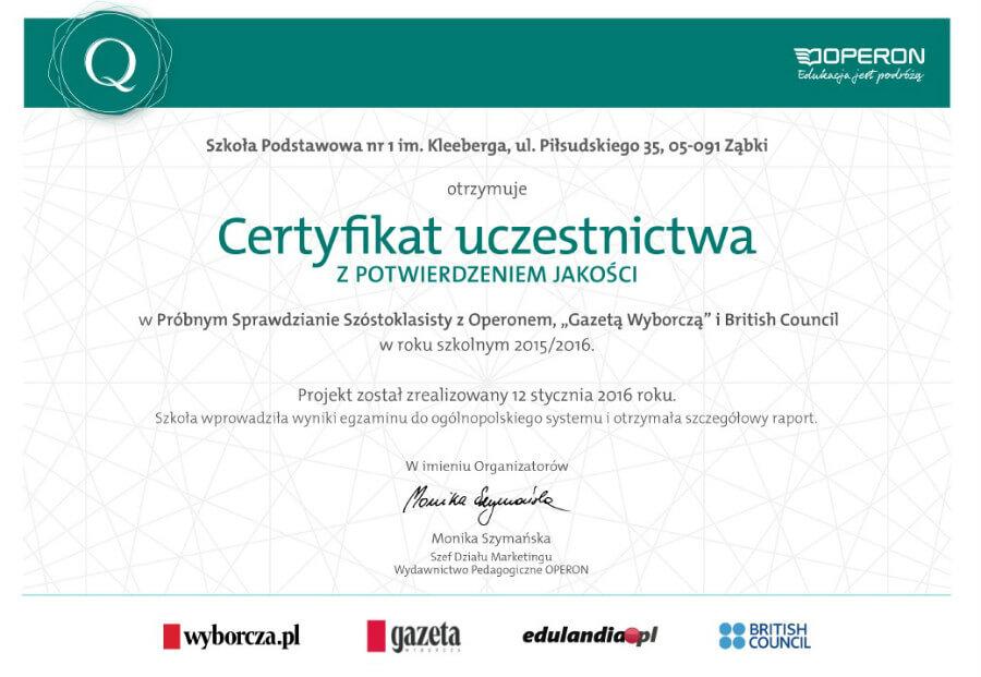 Certyfikat OPERON